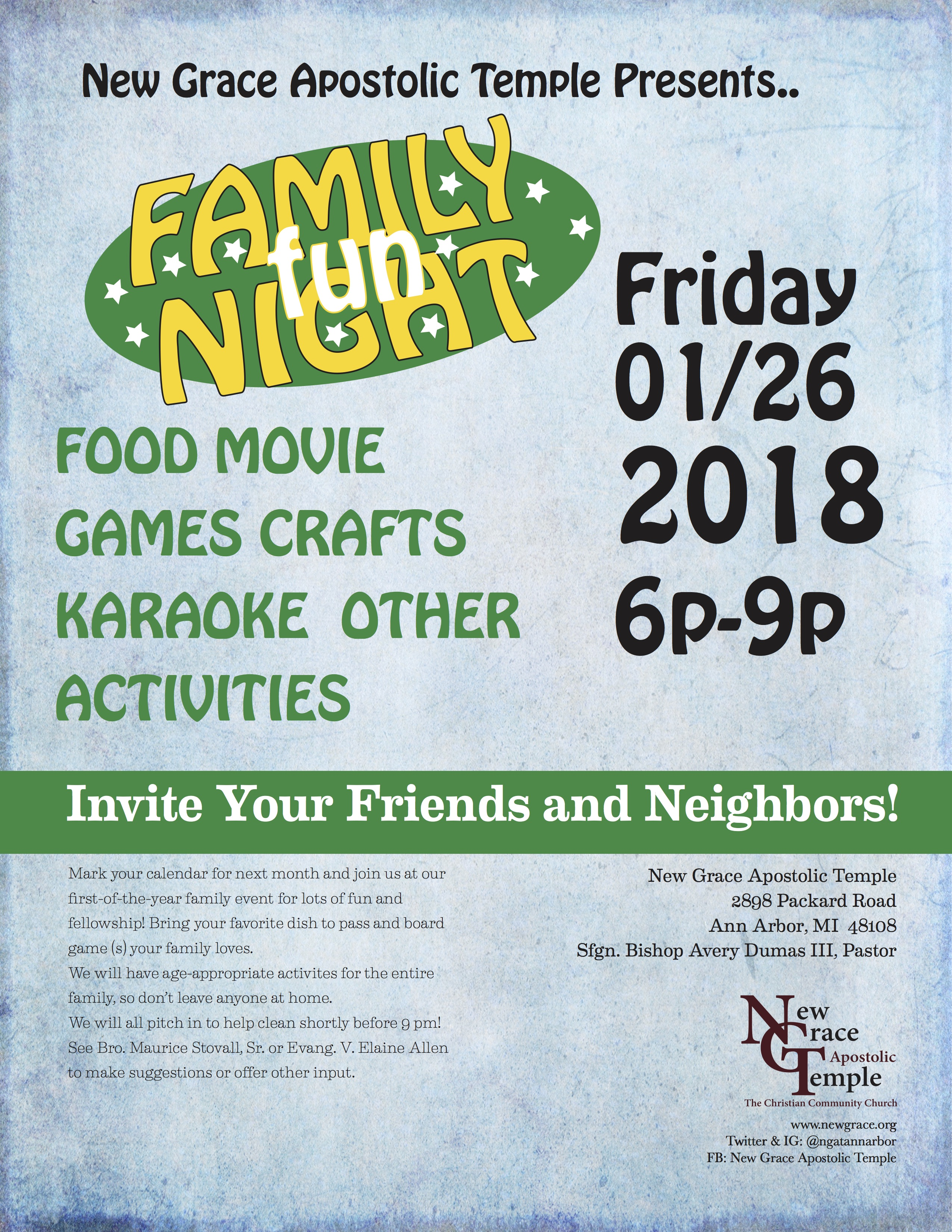 Mark You Calendar For Our Family Fun Night Of 2018 Friday January 26 From 600 Pm 900